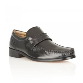 Black Salerno Leather Loafers | Rombah Wallace