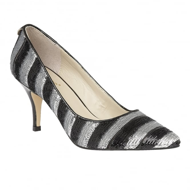 Black & Silver Mosta Sequin Court Shoes
