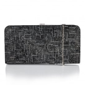 Black & Silver Suman Leather Clutch Bag | Lotus