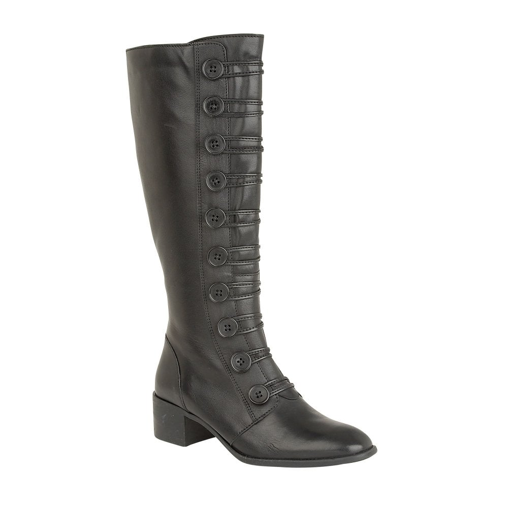 top-rated real enjoy complimentary shipping website for discount Black Spindle Leather Knee-High Boots | Lotus