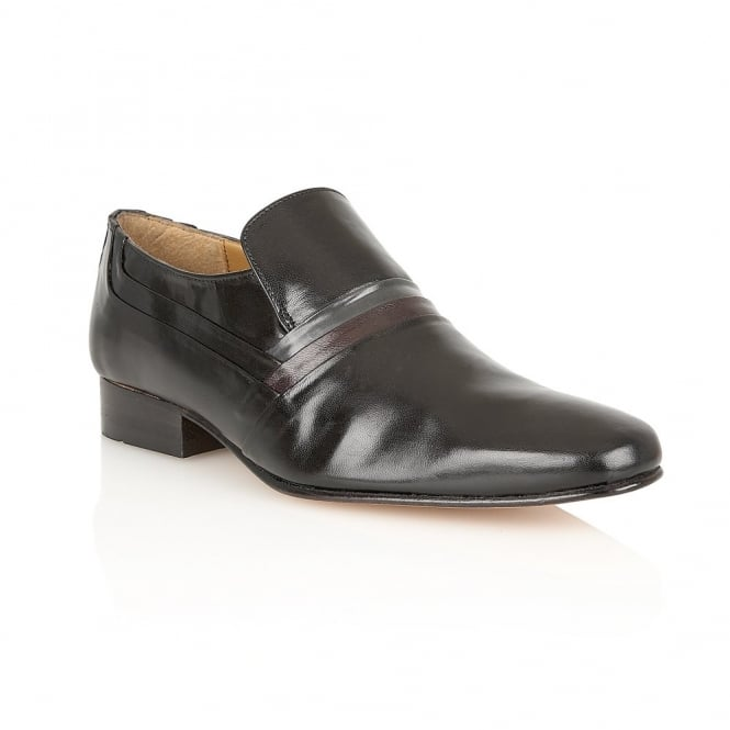 Black Strand Smooth Leather Shoes | Rombah Wallace