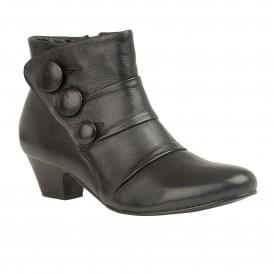 df94e82be Black Stride Leather Heeled Ankle Boots | Lotus
