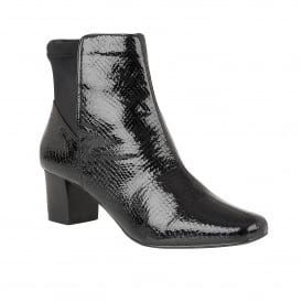 Black Swallow Patent Snake-Print Ankle Boots | Lotus
