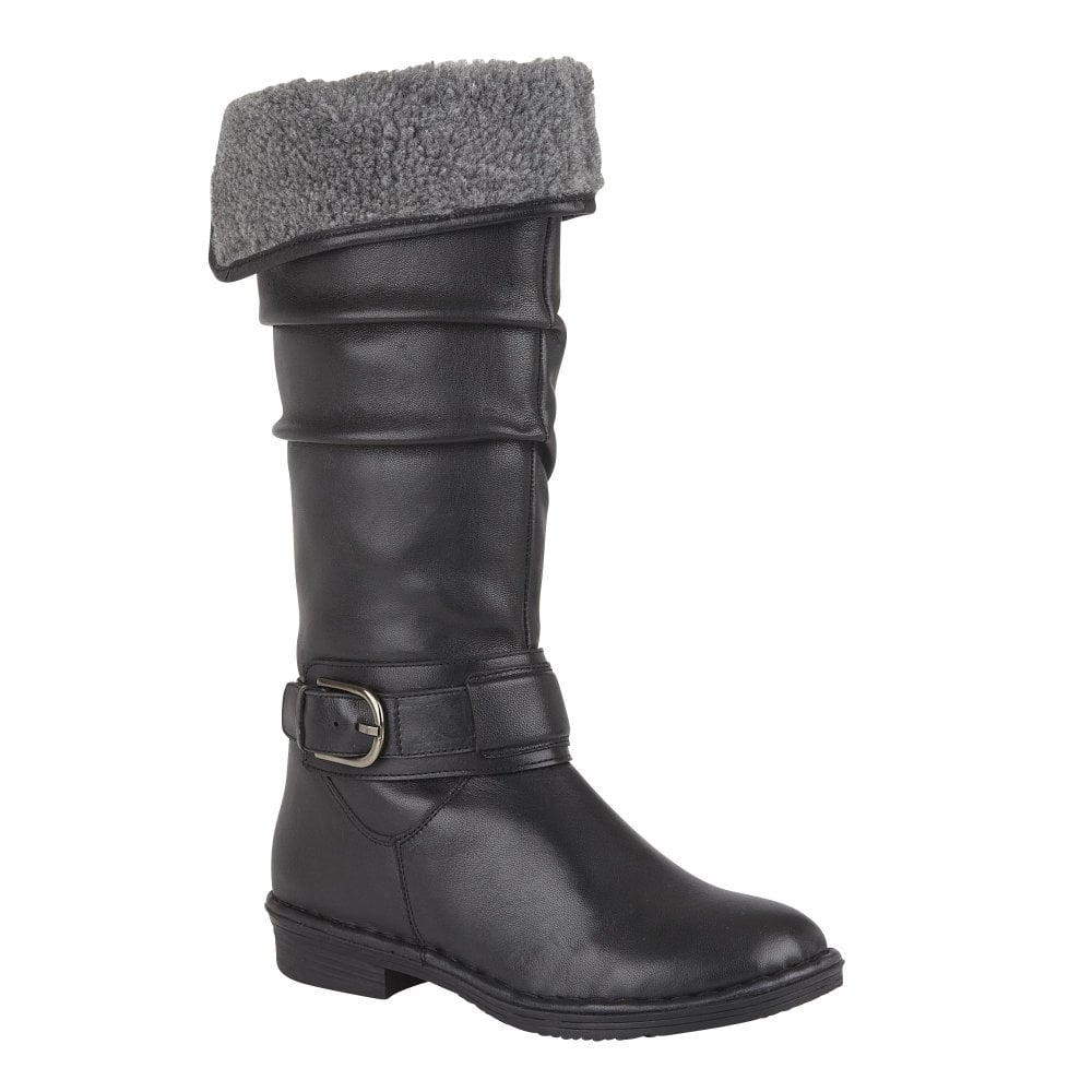 top-rated authentic huge discount stable quality Black Talitha Leather Knee-High Boots | Lotus