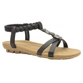 Black Textile Roverto Flat Sandals | Lotus