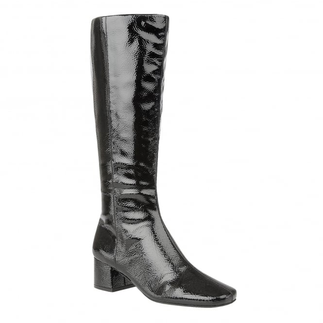 Black Vezalli Crinkle Patent Knee-High Boots | Lotus