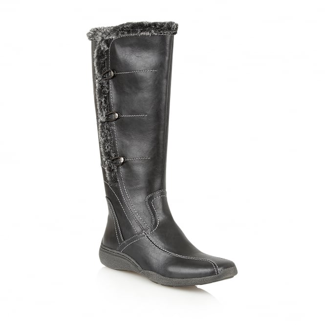 Black Volcanic Knee-High Boots | Lotus