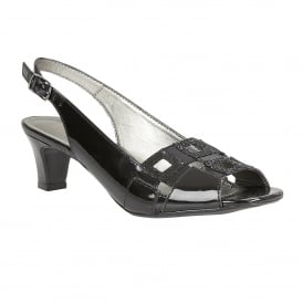 Black Zabry Patent Leather Open-Toe Sandals | Lotus