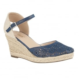 Blue & Diamante Nigella Wedge Espadrille | Lotus