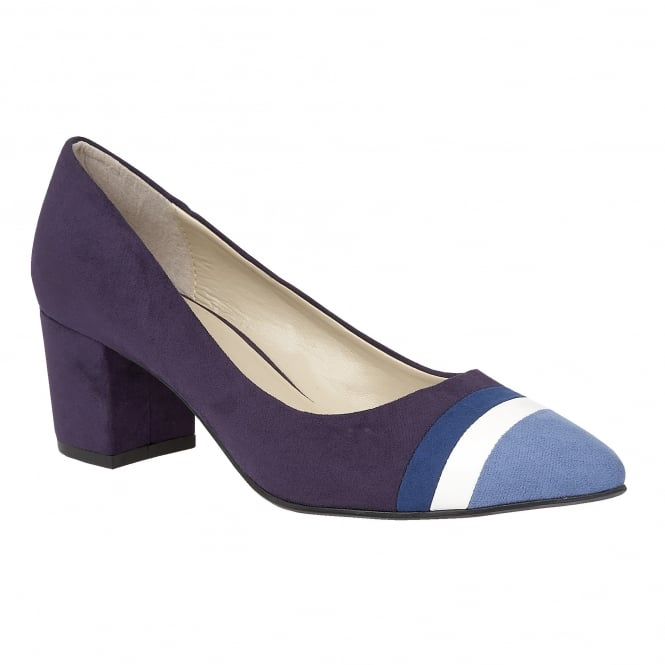 Blue-Multi Gamma Microfibre Pointed-Toe Court Shoes | Lotus