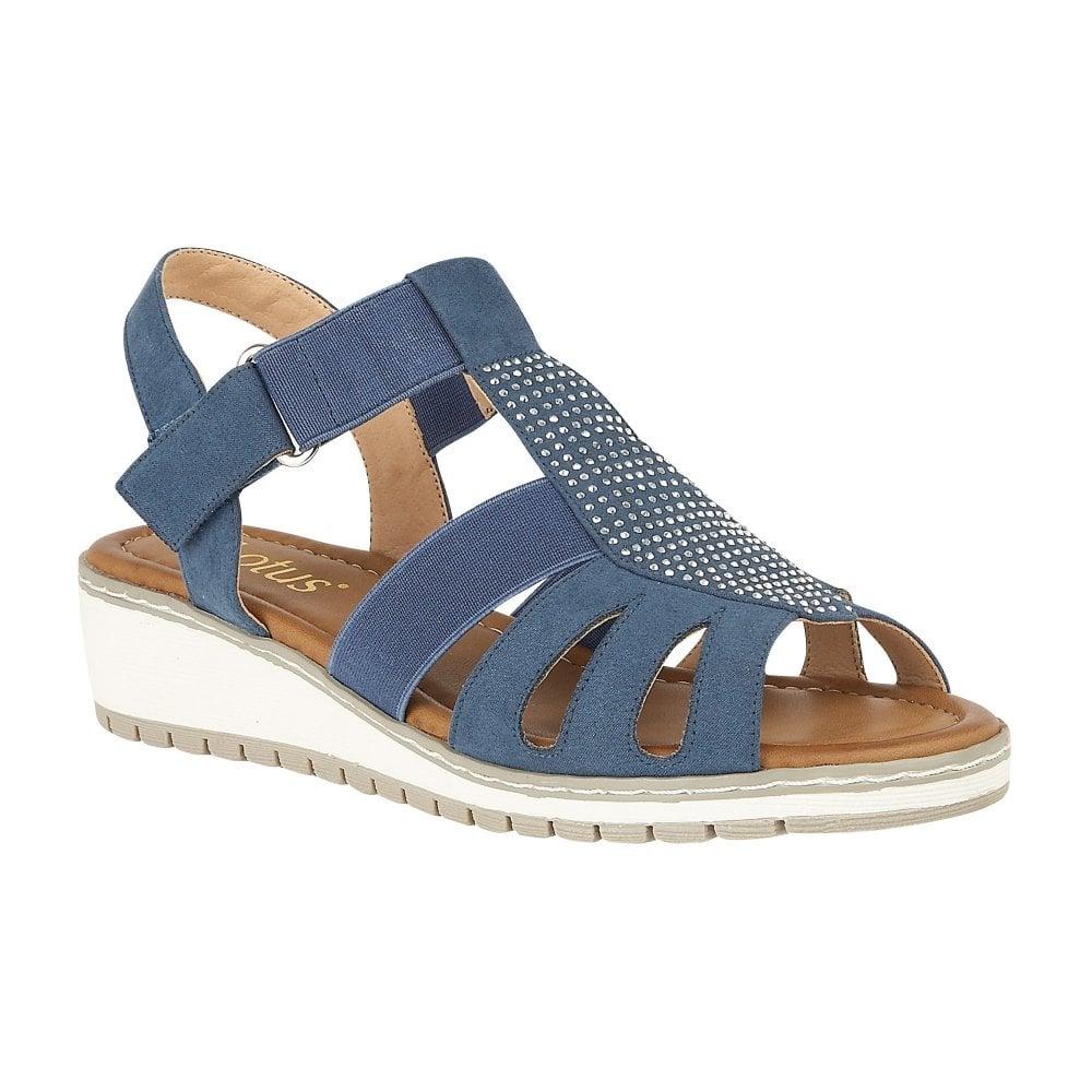 74363ddec7d7 Buy the jeans Lotus ladies  Rene wedge sandal online