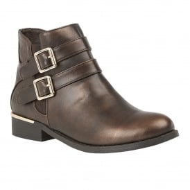 Bronze Palm Metallic Ankle Boots