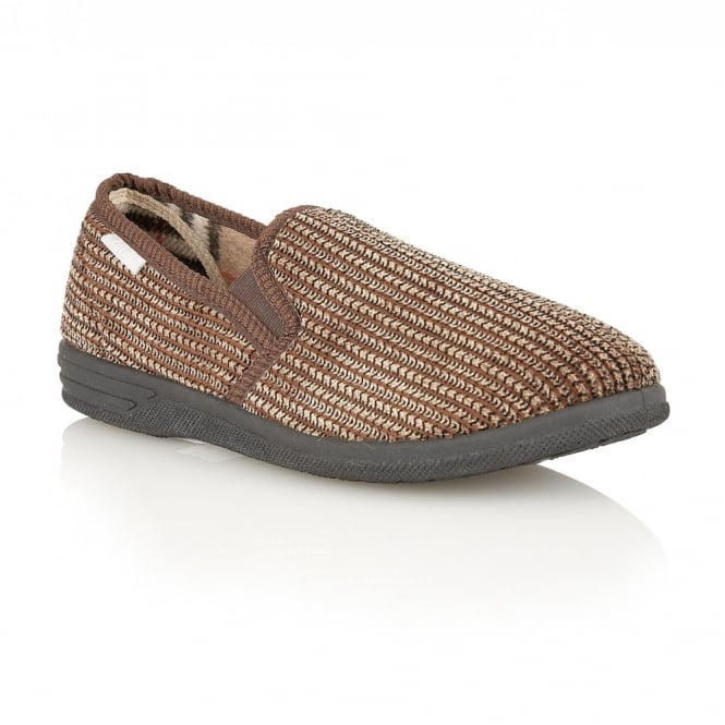 Brown Bevis Corduroy Slippers | Lotus