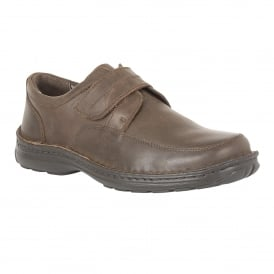 Brown Canley Grain Leather Velcro Shoes | Lotus