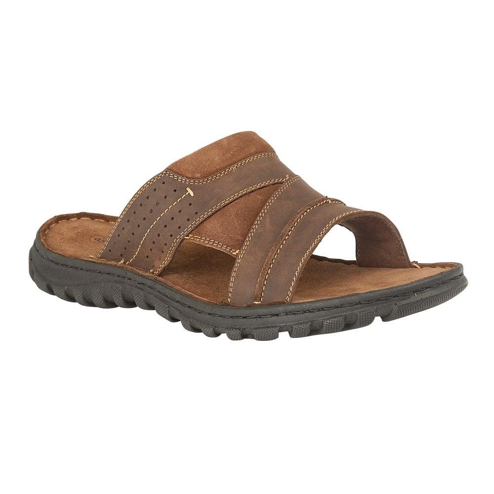 b52bbb9c0fb Buy the brown Lotus men s Cole leather mule sandal online