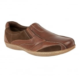 Brown Dale Leather Slip-On Shoes | Lotus