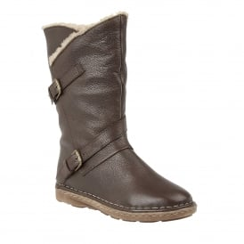 Brown Jolanda Leather Mid-Calf Boots
