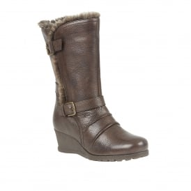 Brown Korinna Leather Mid-Calf Wedge Boots | Lotus