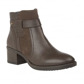 Brown Makayla Leather Ankle Boots