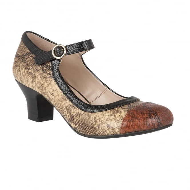 Brown Multi Snake Printed Ornice Mary-Jane Court Shoes | Lotus