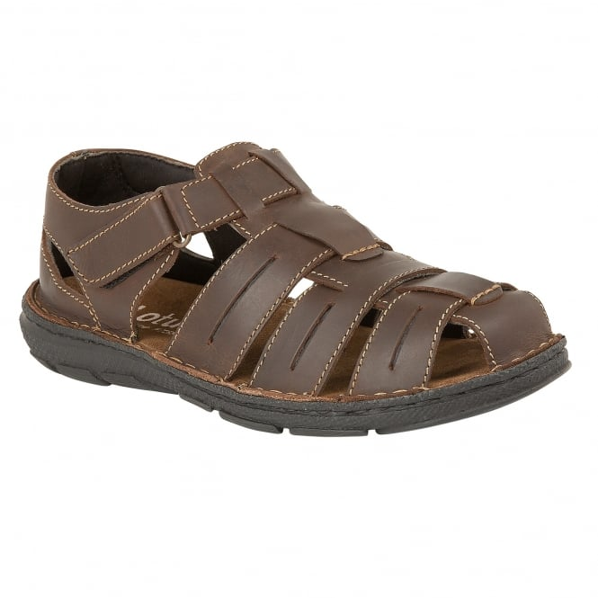 Brown Norwood Leather Velcro Sandals | Lotus