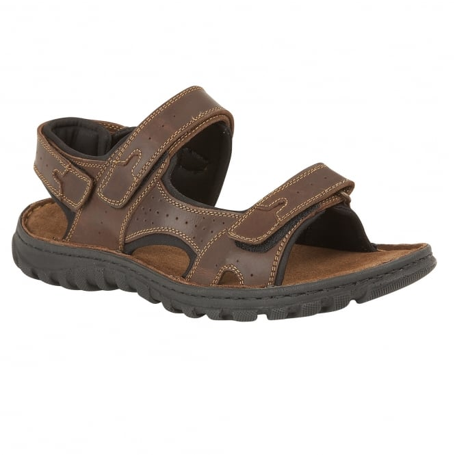 Brown Quigley Leather Velcro Sandals | Lotus