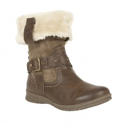 Brown Roxana Faux-Fur Ankle Boots | Lotus Relife