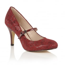 Burgundy Floral Printed Fuzina Court Shoes | Lotus