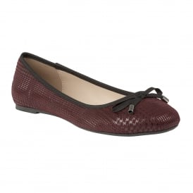 Burgundy Tenley Lizard Printed Ballerina Shoes | Lotus