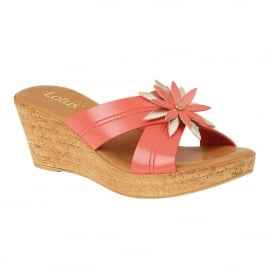 Coral & Gold Japonica Wedge Mule Sandals | Lotus