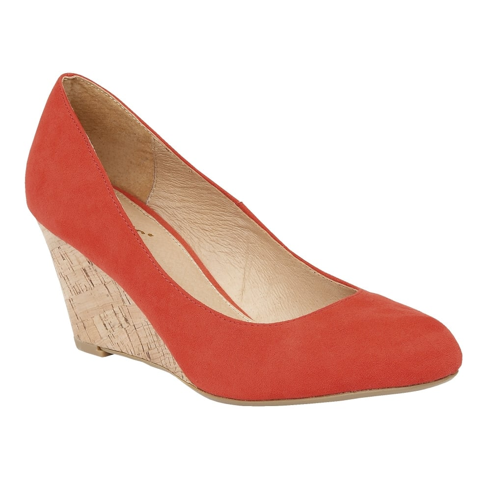 Coral Jelico Microfibre Wedge Shoes