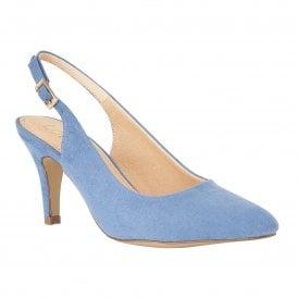bde3030955 Cornflower Blue Microfibre Lizzie Sling-Back Shoes | Lotus