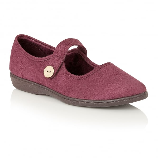Cranberry Merle Mary-Jane Velcro Fastening Slippers | Lotus