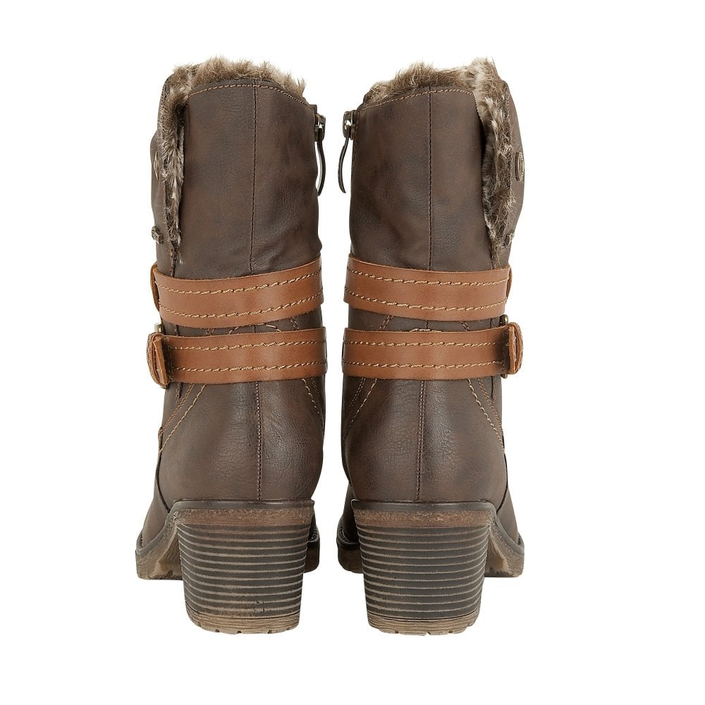 b92ca24ce77 Dark Brown Sambar Heeled Mid-Calf Boots | Lotus Relife
