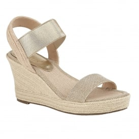 Gold Adita Wedge Open-Toe Sandals | Lotus