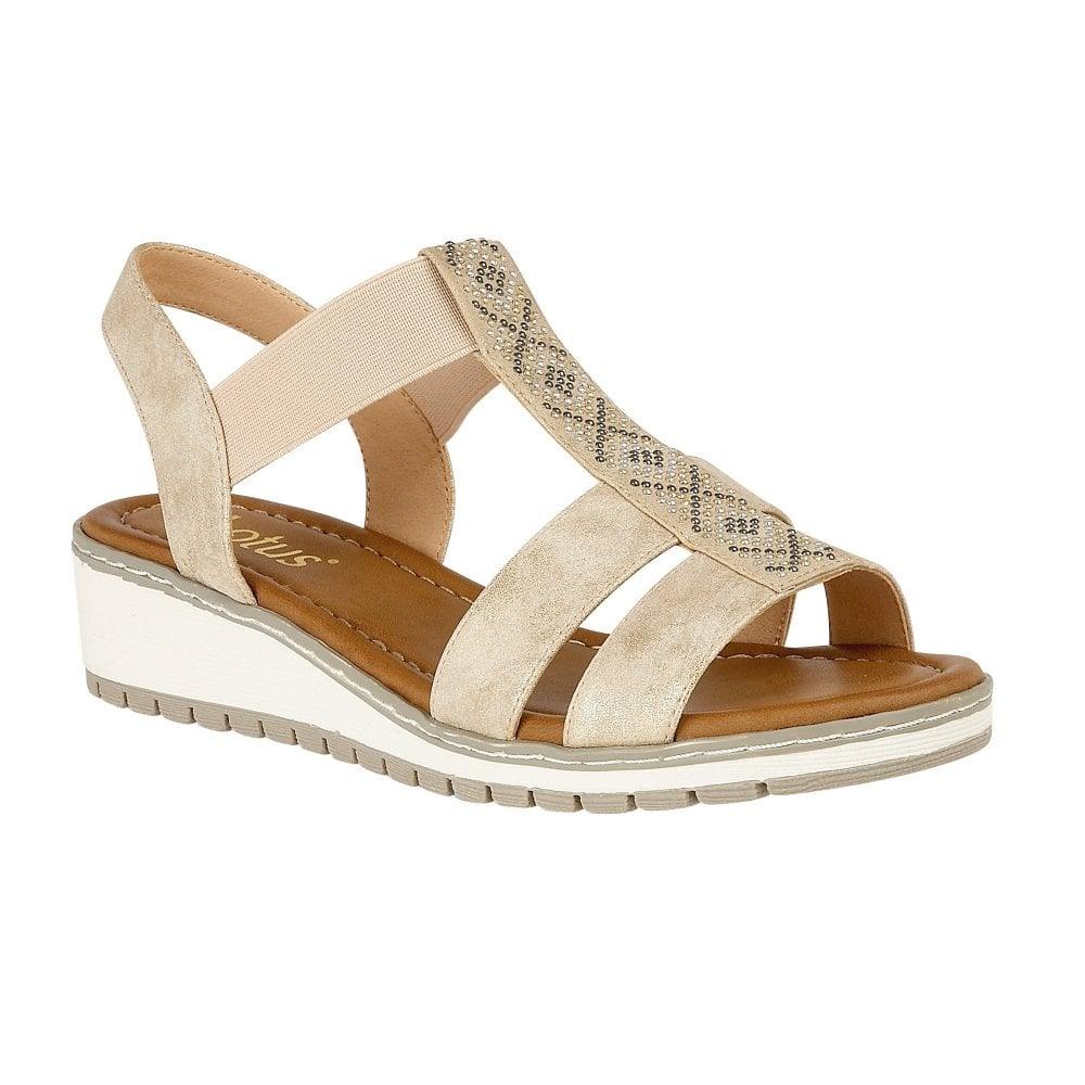 ae4b9e5473 Buy the gold Lotus ladies' Etta wedge sandal online
