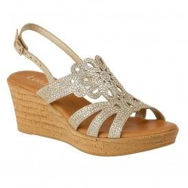 c22d465018bd1 Gold Glitz Ludisa Wedge Sandals   Lotus