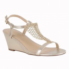 59263185ecf429 Gold Kassidy Wedge Sandals