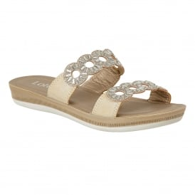 Gold Moretti Flat Sandals | Lotus