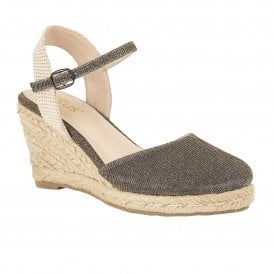02b130b301 Gold Shimmer Textile Maira Wedge Shoes   Lotus Sale