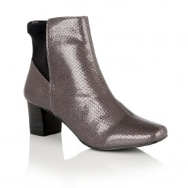 Graphite Swallow Patent Snake-Print Ankle Boots | Lotus