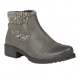 Grey Ayla Textile Ankle Boots | Lotus