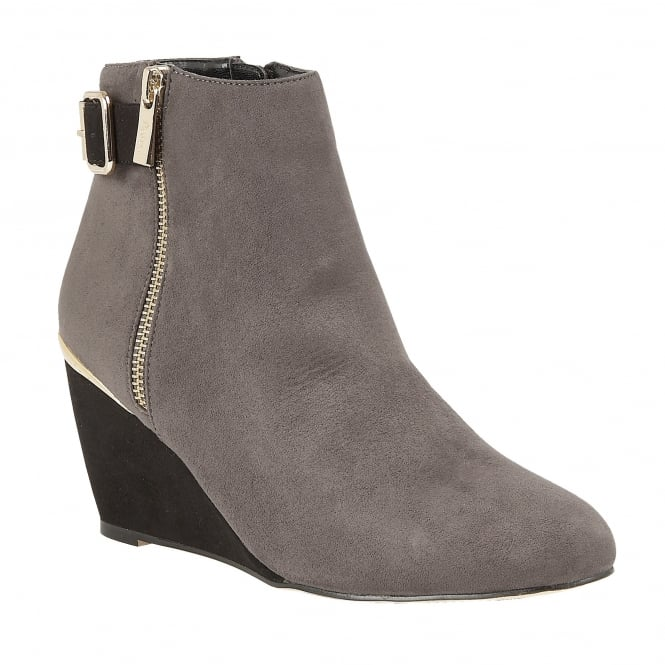 Grey & Black Cassia Microfibre Wedge Ankle Boots | Lotus