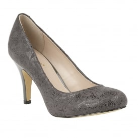 Grey Floral Print Clancy Court Shoes