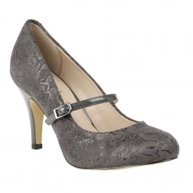 Grey Floral Printed Fuzina Court Shoes | Lotus