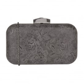Grey Floral Printed Puffin Clutch Bag | Lotus