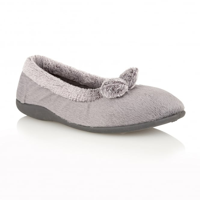Grey Harriet Pom-Pom Detail Slippers