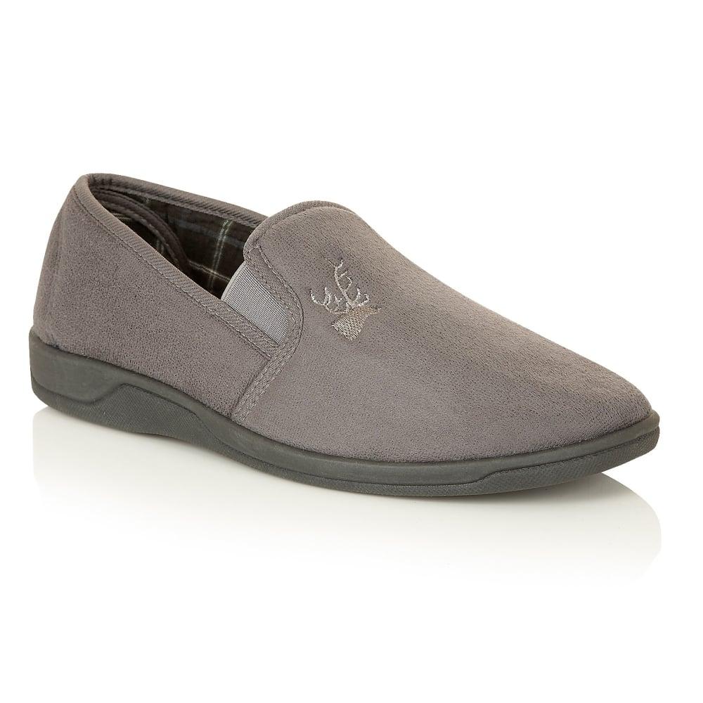 8dfbd499fd44 Buy Lotus men s Jack grey micro-suede slippers online