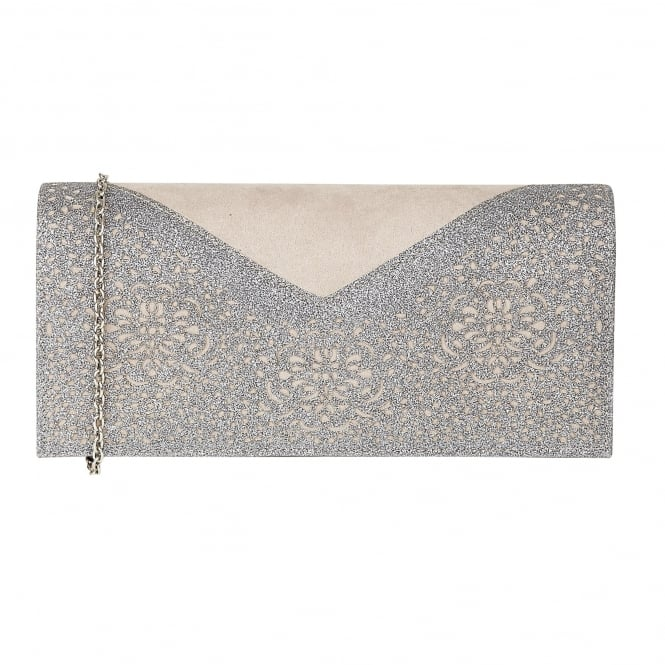 Grey & Pewter Glitz Fidda Clutch Bag | Lotus