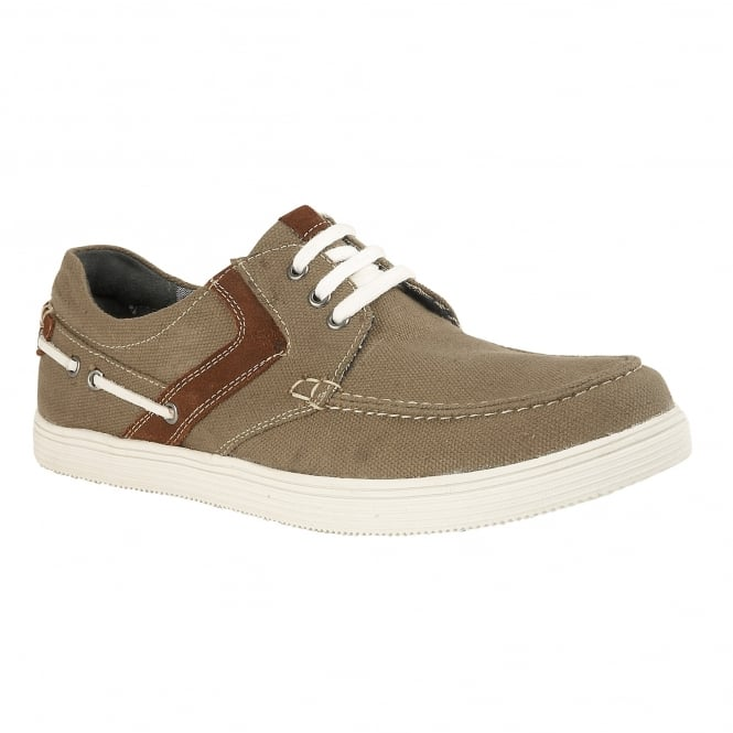 Khaki Gladstone Canvas Lace-Up Shoes | Lotus
